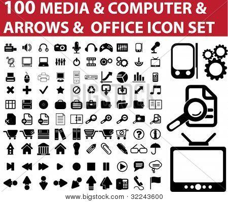100 media & computer & arrows & office icon vector set