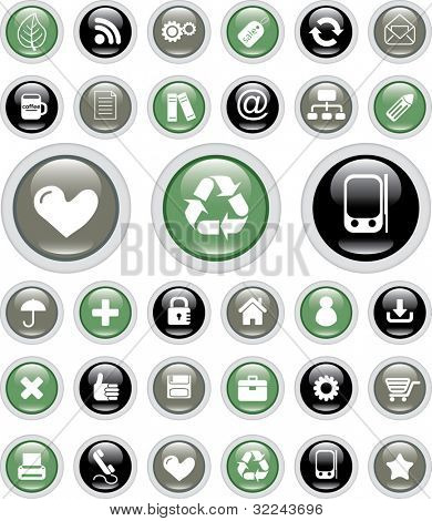 glossy buttons for web sites and applications - vector set