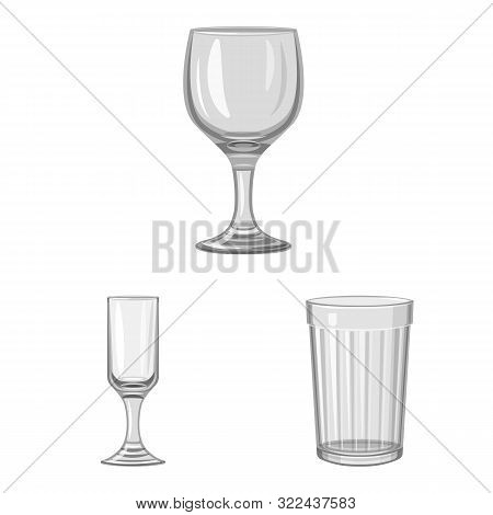 Vector Illustration Of Capacity And Glassware Symbol. Set Of Capacity And Restaurant Vector Icon For