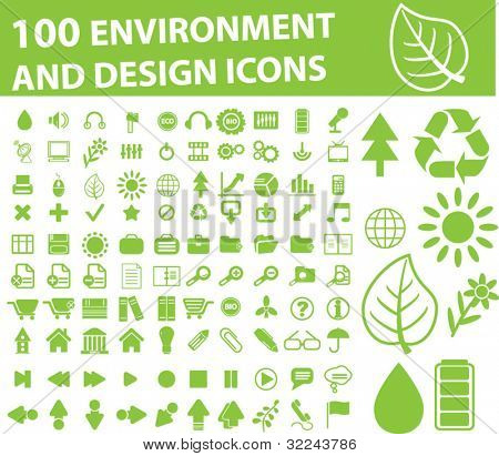 100 environment and design icons - vector set