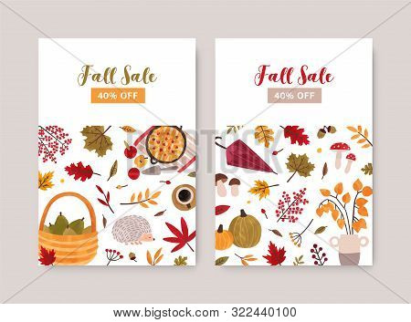Fall Sale Poster Vector Template. Autumn Seasonal Clearance Discount Flyers, Advertising Brochure Pa