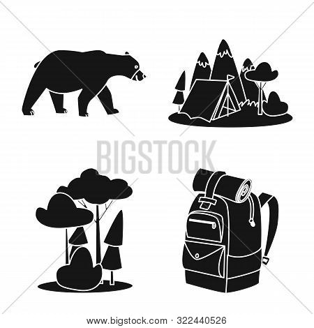 Isolated Object Of Barbeque And Leisure Sign. Collection Of Barbeque And Nature Stock Symbol For Web
