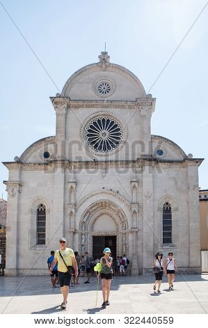 Sibenik, Croatia - August 18, 2017: Tourists Visit Cathedral Of St. James In Sibenik, Croatia.