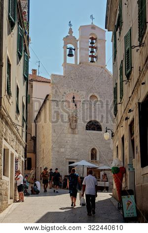 Sibenik, Croatia - August 18, 2017: Tourists Visit Sibenik, A Historic City In Croatia, Located In C