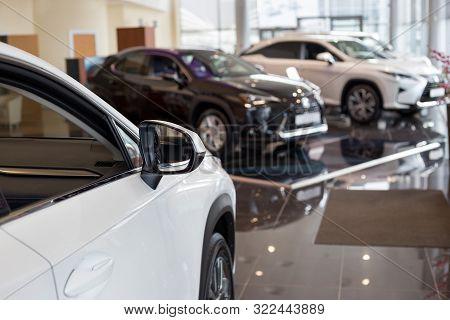 Russia, Izhevsk - July 21, 2019: Lexus Showroom. New Modern Cars In The Dealer Showroom. Famous Worl