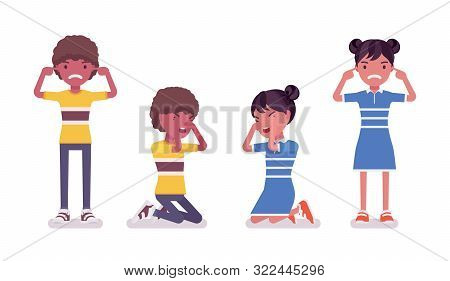 Black Boy, Girl Child 7 To 9 Years Old, Negative Mood School Age. Unhappy Angry Kid Crying, Feeling