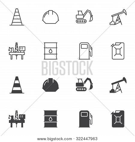Oil Industry Icon Set, Line And Glyph Version, Outline And Filled Vector Sign. Linear And Full Picto