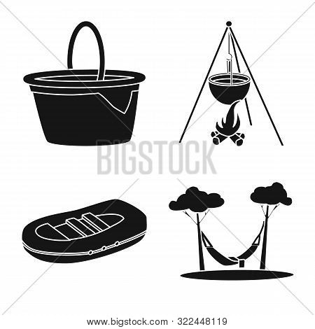 Isolated Object Of Barbeque And Leisure Symbol. Set Of Barbeque And Nature Stock Symbol For Web.