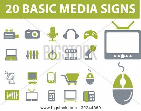 20 media signs. green series. vector. please, visit my portfolio to find more similar.