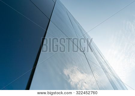 Modern Mirror Wall Decoration Of Business Center, Copy Space. Bottom View To Texture Of Exterior Des