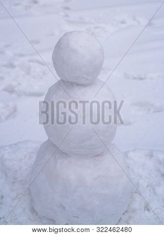 White Winter Time. Snowman Outdoor - Copy Cpace. Holiday Poster Design, Sale Banner. Snowman And Sno