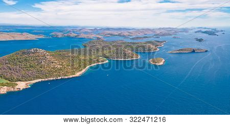 Telascica Nature Park And Green Mir Lake On Dugi Otok Island Aerial Panoramic View, Kornati Archipel