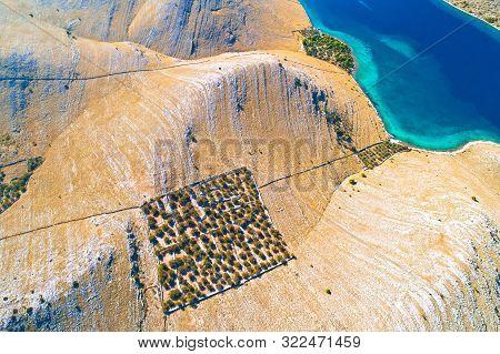 Aerial View Of Kornat Island Drywalls And Stone Desert, Kornati National Park Of Croatia