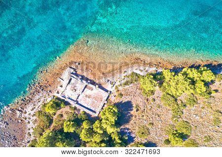 Dugi Otok Island Historic Villa Rustica Ruins Aerial View, Kornati Archipelago Of Croatia
