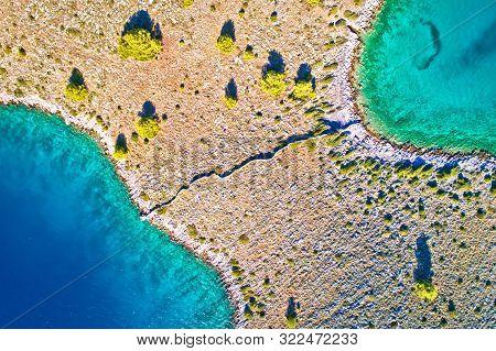 Kornati National Park Island Separated By Stone Drywall Aerial View, Archipelago Of Dalmatia, Croati