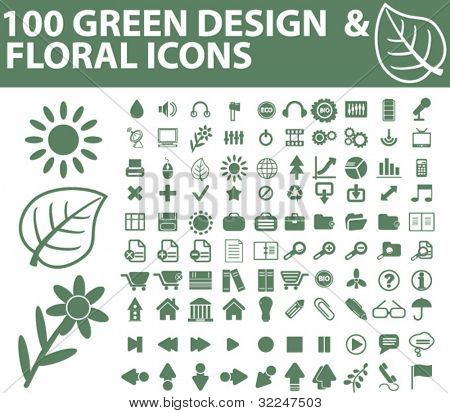 100 green design & floral icons. vector