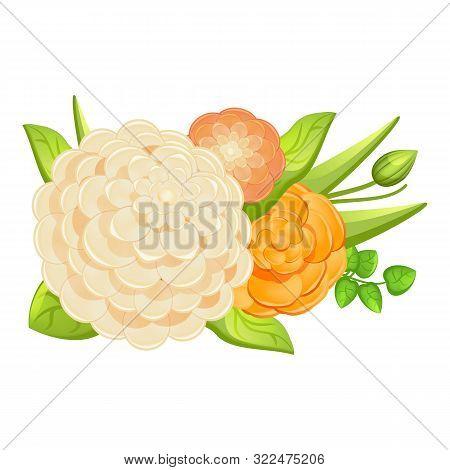 Wedding Camellia Bouquet Icon. Cartoon Of Wedding Camellia Bouquet Vector Icon For Web Design Isolat