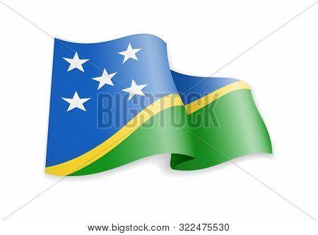 Waving Solomon Islands Flag On White. Flag In The Wind.