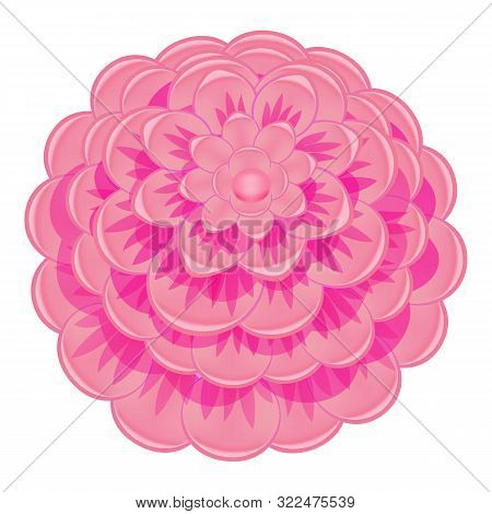 Colorful Pink Camellia Icon. Cartoon Of Colorful Pink Camellia Vector Icon For Web Design Isolated O