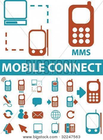 20 mobile connect signs. vector