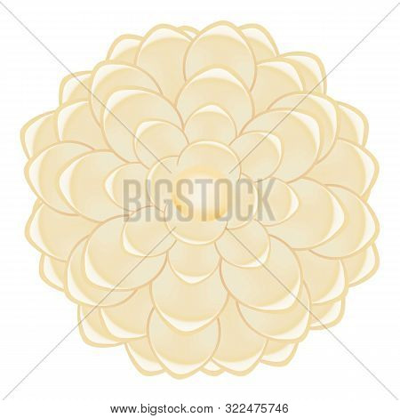 White Pearl Camellia Icon. Cartoon Of White Pearl Camellia Vector Icon For Web Design Isolated On Wh