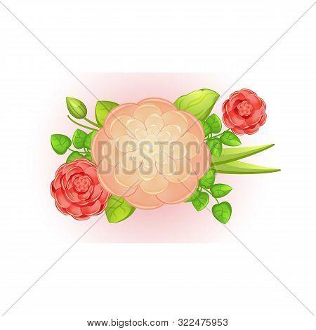 Spring Camellia Bouquet Icon. Cartoon Of Spring Camellia Bouquet Vector Icon For Web Design Isolated