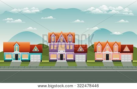 Neighborhood Street With Houses Scene Vector Illustration Design