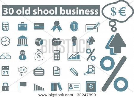 30 old school business icons. vector
