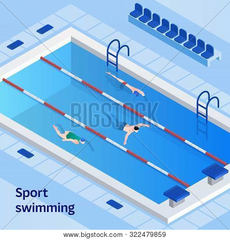 Sport Swimming Concept Banner. Isometric Illustration Of Sport Swimming Vector Concept Banner For We