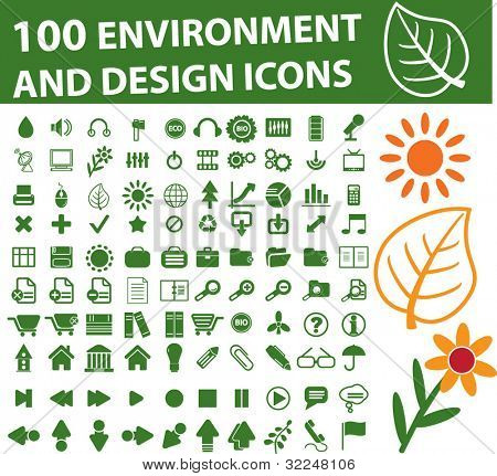 100 environment & design icons. vector