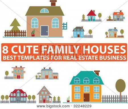 8 cute family houses. vector