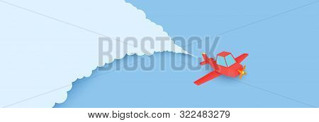 Red Airplain Flies In Blue Sky Through The Clouds In Paper Cut Style. Landscape With 3d Origami Cont