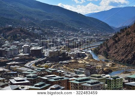 Thimphu, Bhutan - December 7, 2018: Top View Of The Densely Packed Dwellings Down The Hill In The Va