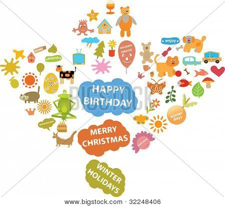 winter holidays - cute signs. vector