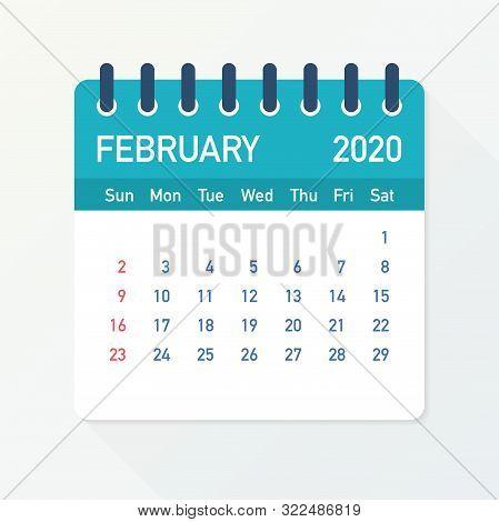 February 2020 Calendar Leaf. Calendar 2020 In Flat Style. Vector Illustration.