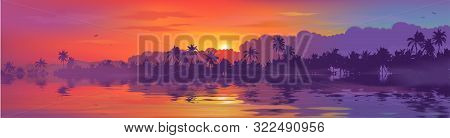 Colorful Tropical Sunset In Palm Trees Forest And Calm Water Reflection. Vector Ocean Beach Landscap