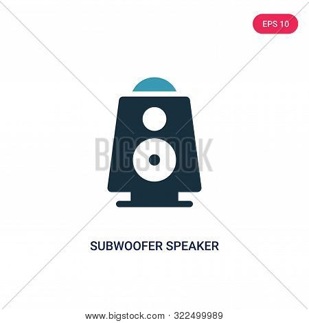 subwoofer speaker icon in two color design style.