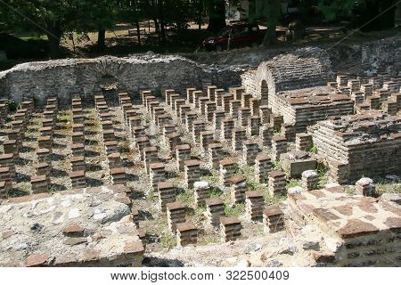 Ruins Of Roman Baths In Ancient Dion In The Region Of Pieria. Greece