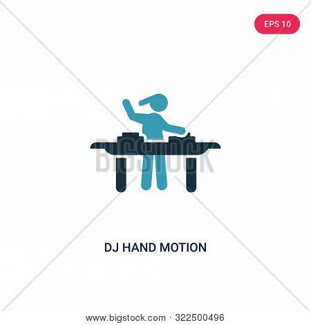 dj hand motion icon in two color design style.