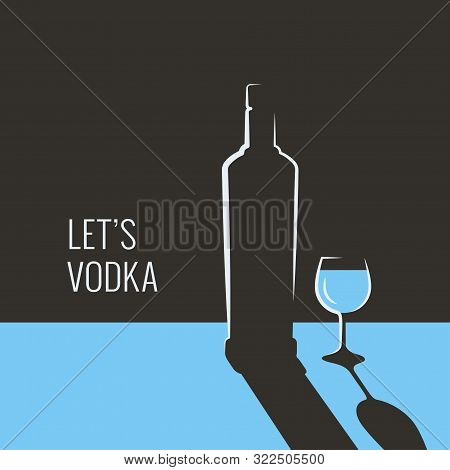 Vodka Bottle Banner. Glass Of Vodka On Blue