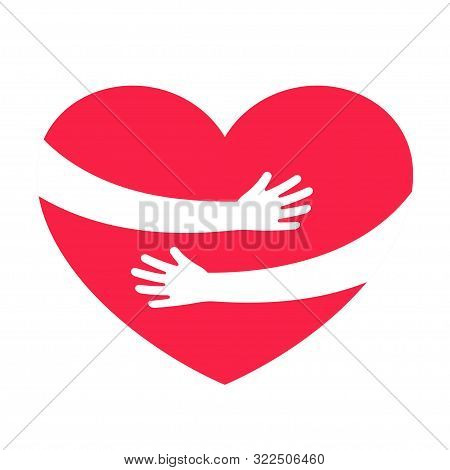 Hands Embracing Red Heart With Love. Valentine Day. World Heart Day. Embracing Love Symbol. Vector I