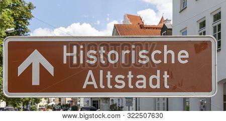 Sign Historische Altstadt (historic Old Town)  In Fuessen,  Germany