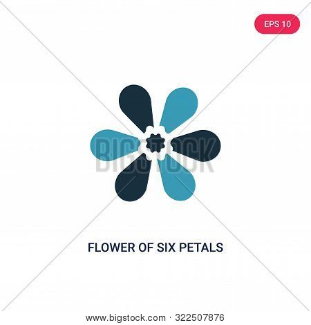 flower of six petals from japan icon in two color design style.