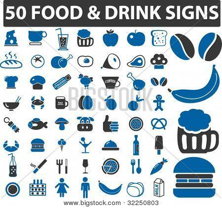 50 sinais de alimentos & bebida. vector