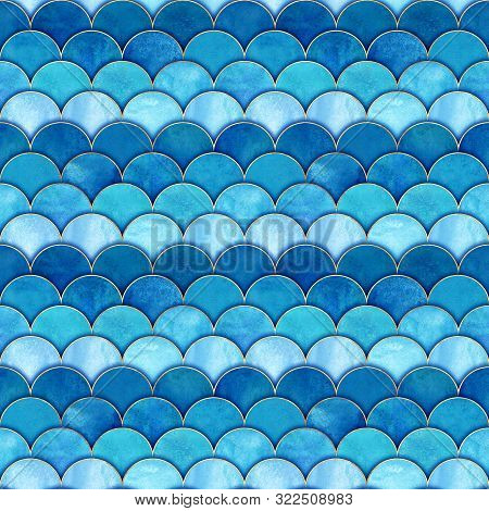 Mermaid Fish Scale Wave Japanese Magic Seamless Pattern. Watercolor Hand Drawn Blue Teal Color Backg