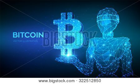 Bitcoin. Low Poly Abstract Mesh Line And Point Bitcoin Sign. Crypto Currency, Virtual Electronic, In