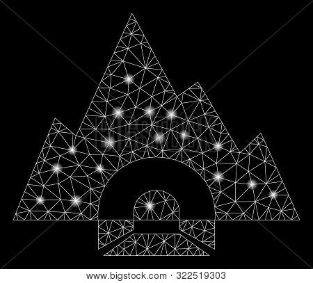 Glowing Mesh Mountain Tunnel With Glow Effect. Abstract Illuminated Model Of Mountain Tunnel Icon. S