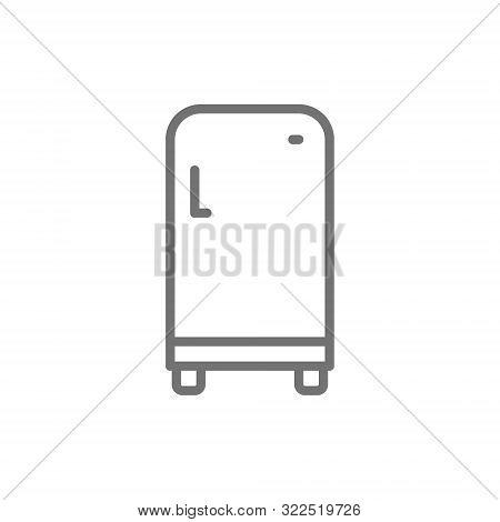 Retro Fridge, Single Compartment Refrigerator Line Icon.