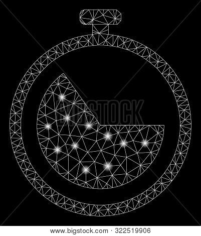 Flare Mesh Stopwatch With Sparkle Effect. Abstract Illuminated Model Of Stopwatch Icon. Shiny Wire F
