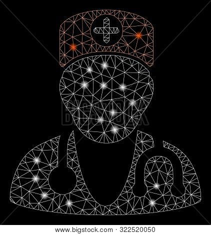 Flare Mesh Therapist With Glare Effect. Abstract Illuminated Model Of Therapist Icon. Shiny Wire Fra
